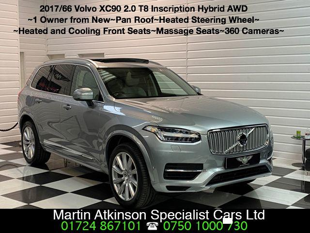 Volvo XC90 2.0 T8 Hybrid Inscription 5dr Geartronic Estate Petrol / Electric Hybrid Electric Premium Silver Metallic