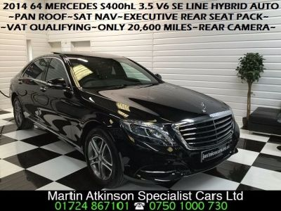Mercedes-Benz S Class 3.5 S400hL Hybrid SE Line V6 4dr Auto [Executive] Saloon Hybrid Obsidian Black MetallicMercedes-Benz S Class 3.5 S400hL Hybrid SE Line V6 4dr Auto [Executive] Saloon Hybrid Obsidian Black Metallic at Martin Atkinson Cars Scunthorpe