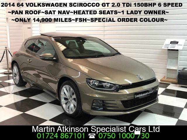 Volkswagen Scirocco 2.0 TDi BlueMotion Tech GT 150 3dr PAN ROOF~BIG SPEC~ Coupe Diesel Aztec Gold Metallic Special Order Colour