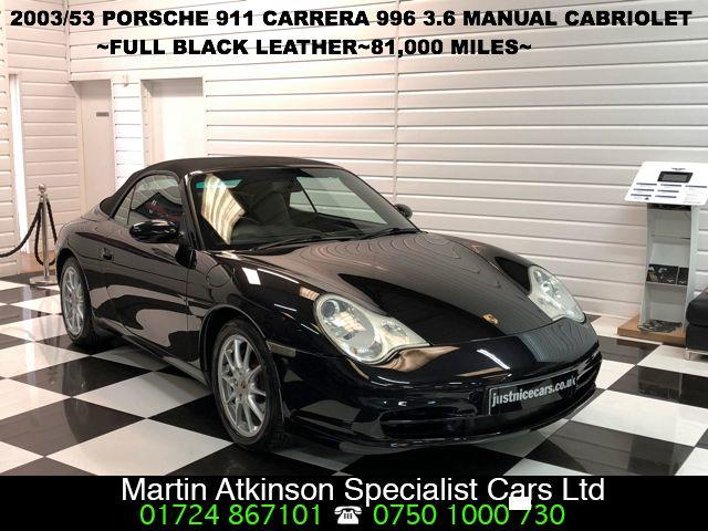 Porsche 911 Carrera 320BHP 3.6 Manual Convertible Petrol Black