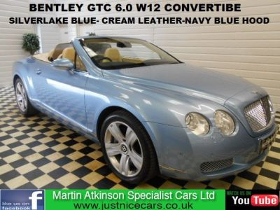 Bentley Continental GTC 6.0 W12 4dr Auto convertible Convertible Petrol Silverlake BlueBentley Continental GTC 6.0 W12 4dr Auto convertible Convertible Petrol Silverlake Blue at Martin Atkinson Cars Scunthorpe