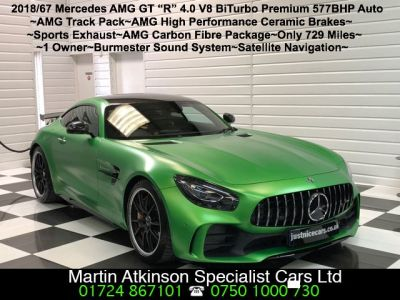 Mercedes-Benz AMG GT 4.0 GT R Premium 2dr Auto Massive Specification Coupe Petrol Amg Hell Green MagnoMercedes-Benz AMG GT 4.0 GT R Premium 2dr Auto Massive Specification Coupe Petrol Amg Hell Green Magno at Martin Atkinson Cars Scunthorpe