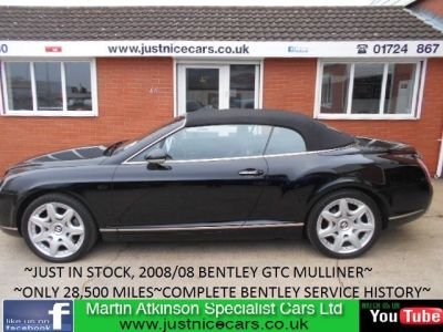 Bentley Continental GTC 6.0 W12 2dr Auto MULLINER CONVERTIBLE Convertible Petrol BlackBentley Continental GTC 6.0 W12 2dr Auto MULLINER CONVERTIBLE Convertible Petrol Black at Martin Atkinson Cars Scunthorpe